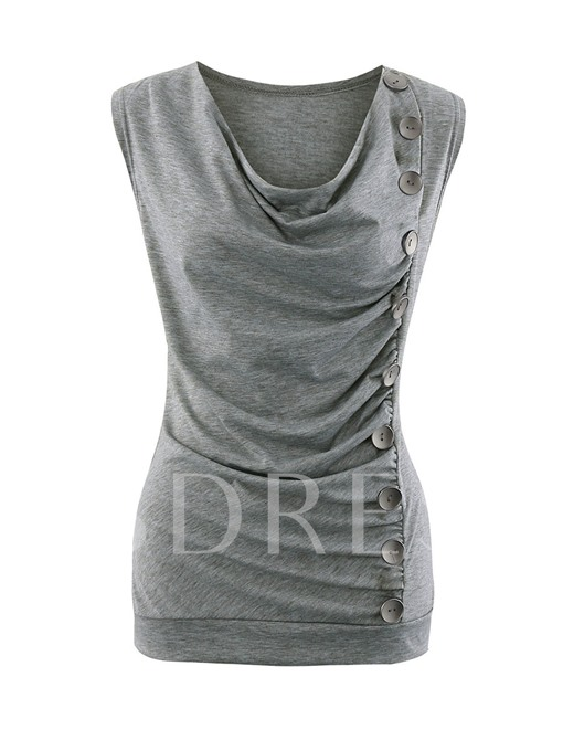 Single-Breasted Pleated Plain Women's T-Shirt