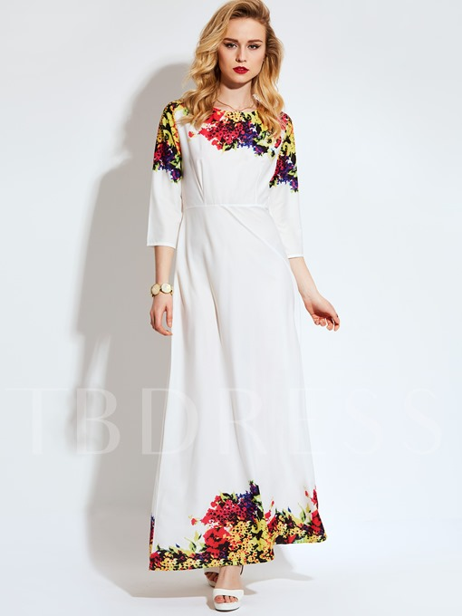 3/4 Sleeve Vacation Back Zipper Women's Maxi Dress
