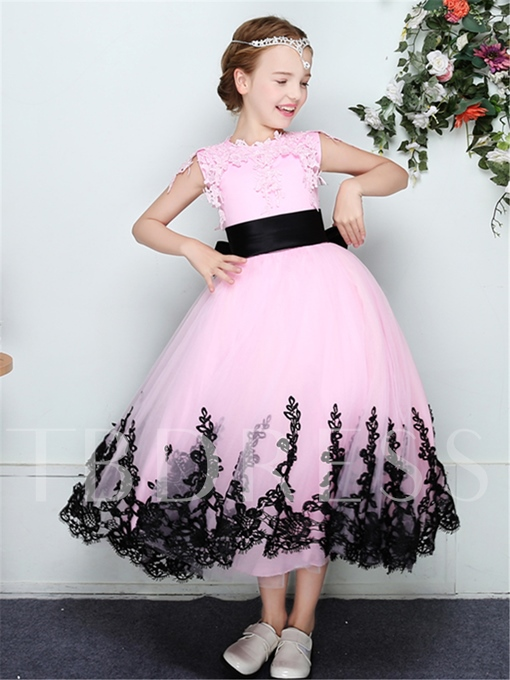 A-Line Tulle Lace Trim Edge Sleeveless Flower Girl Dress