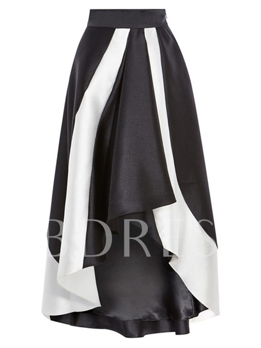 Black And White Irregularity Floor-Length Women's Skirt