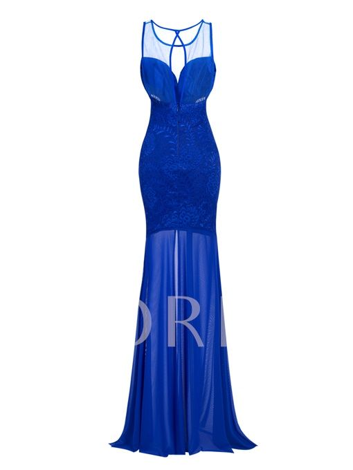 Scoop Neck Sheath Split-Front Long Evening Dress