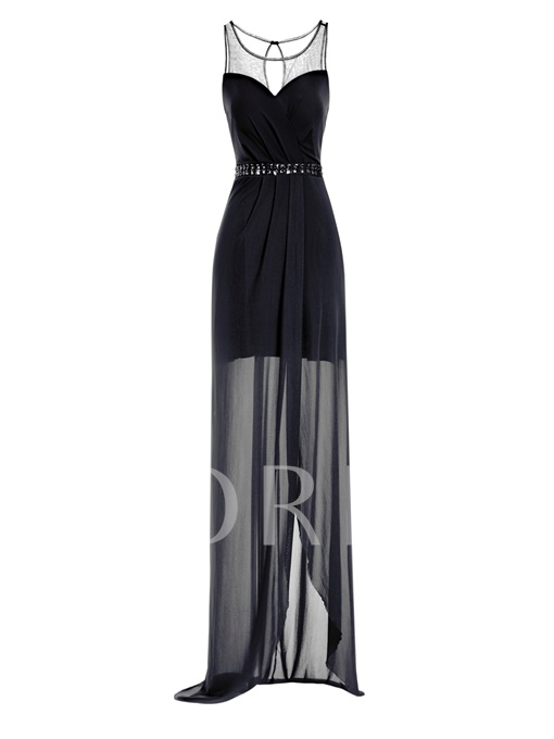 Scoop Neck Sheath Beaded Long Chiffon Evening Dress