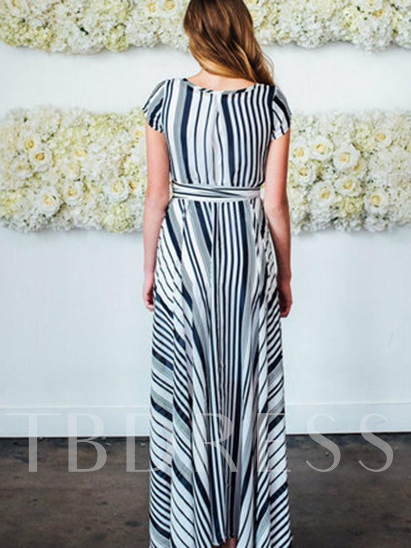 Lace-Up Stripe Expansion Women's Maxi Dress
