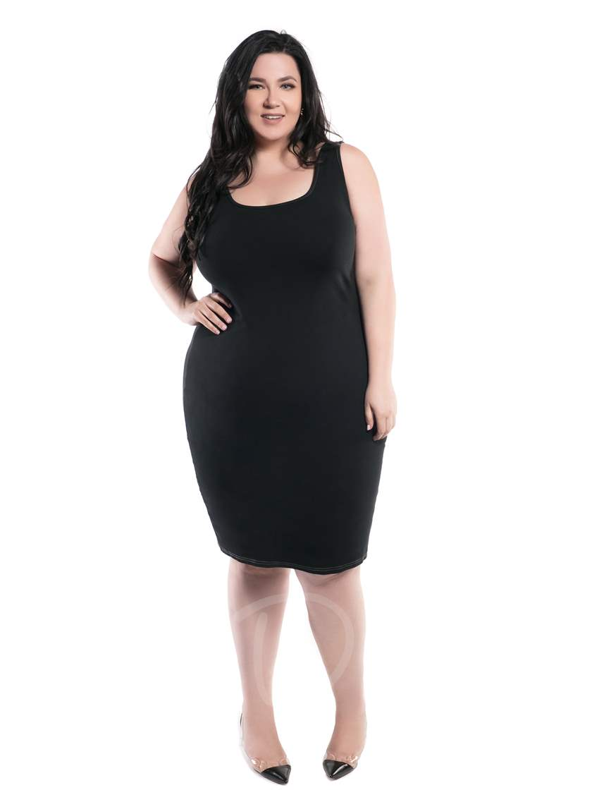 Plus Size Sleeveless Black Women's Plus Size Cary Bodycon Dress