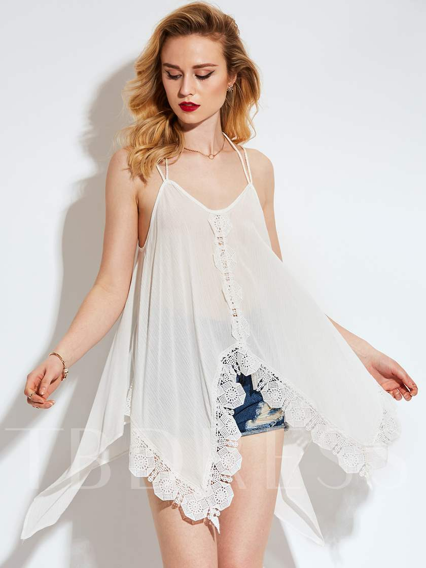 Plain Loose Lace Splicing Strap Women's Tank Top