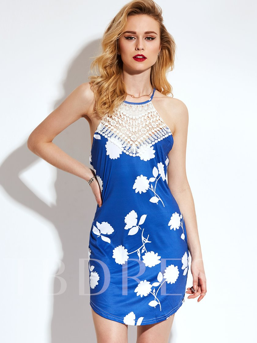 Blue Cross Back Vacation Floral Printed Women's Party Dress