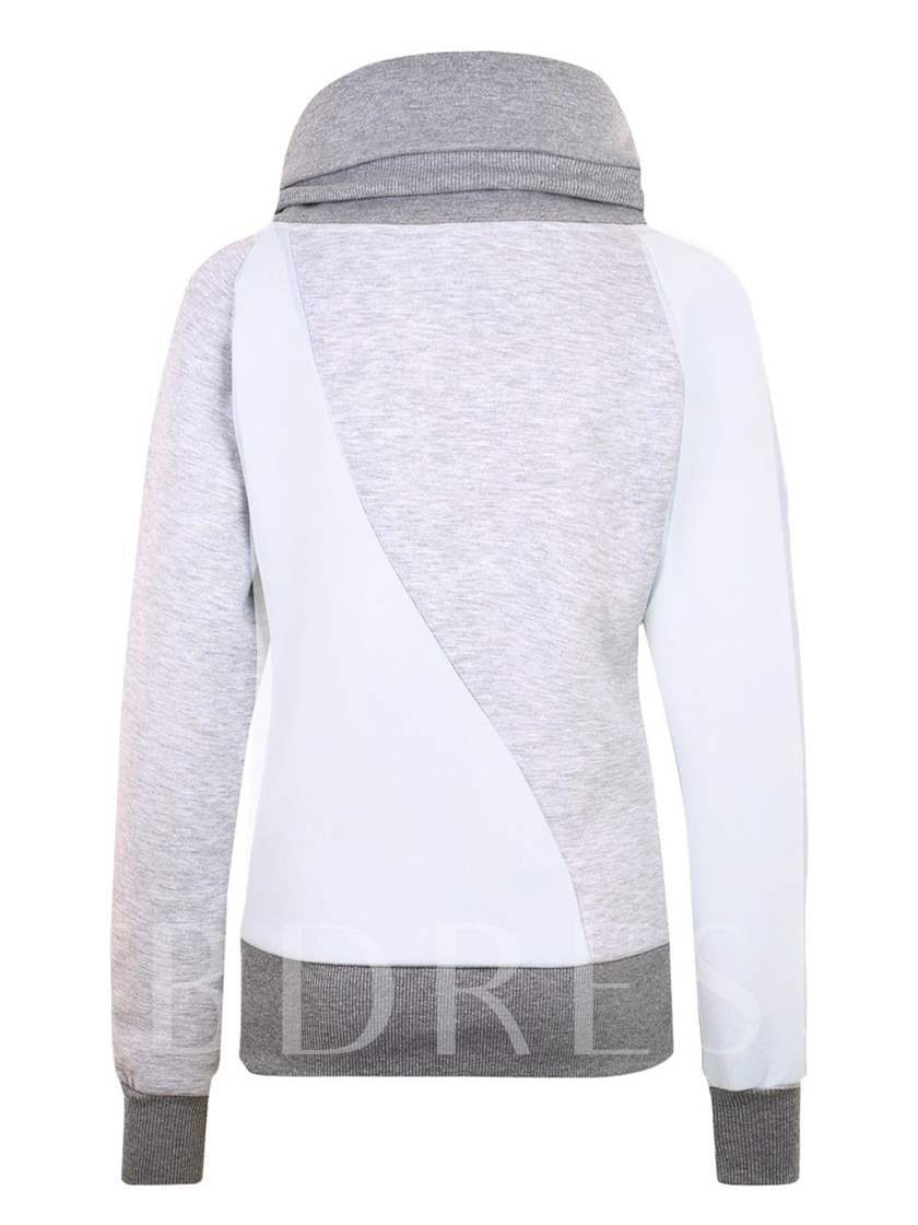 Color Block Turtleneck Women's Hoodie