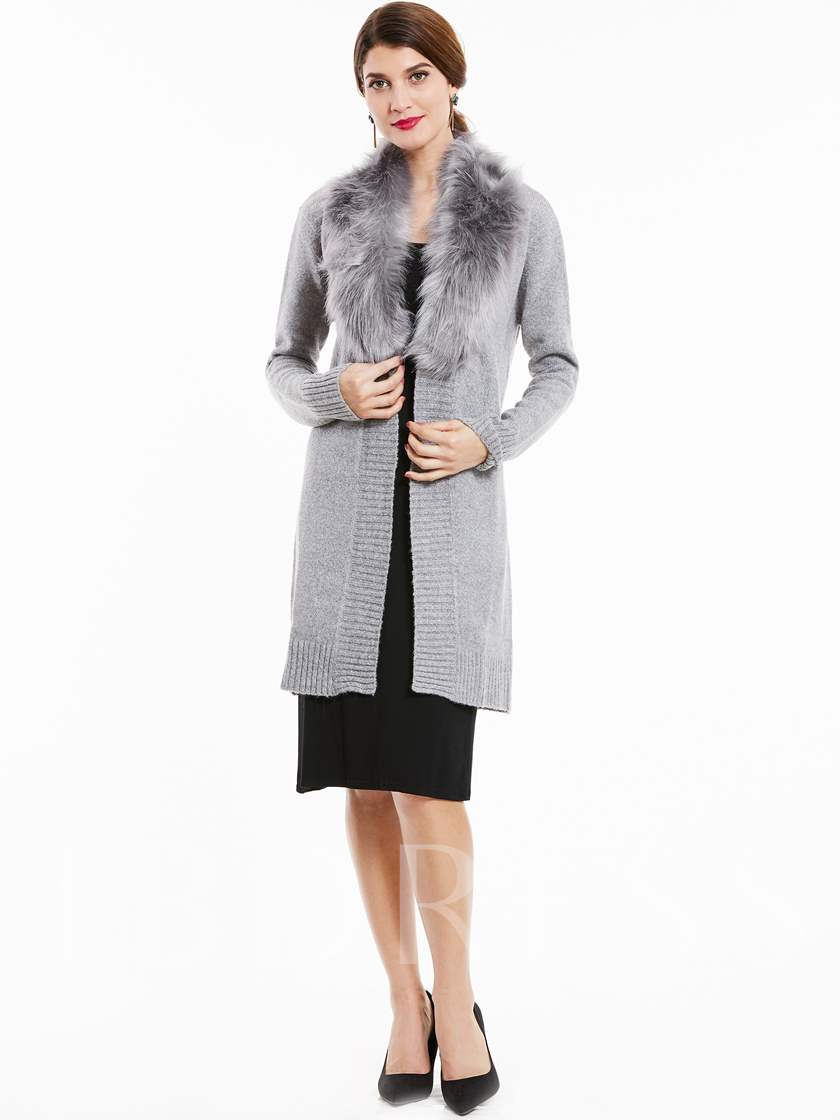 Wide Faux Fur Lapel Lace-Up Women's Sweater Coat