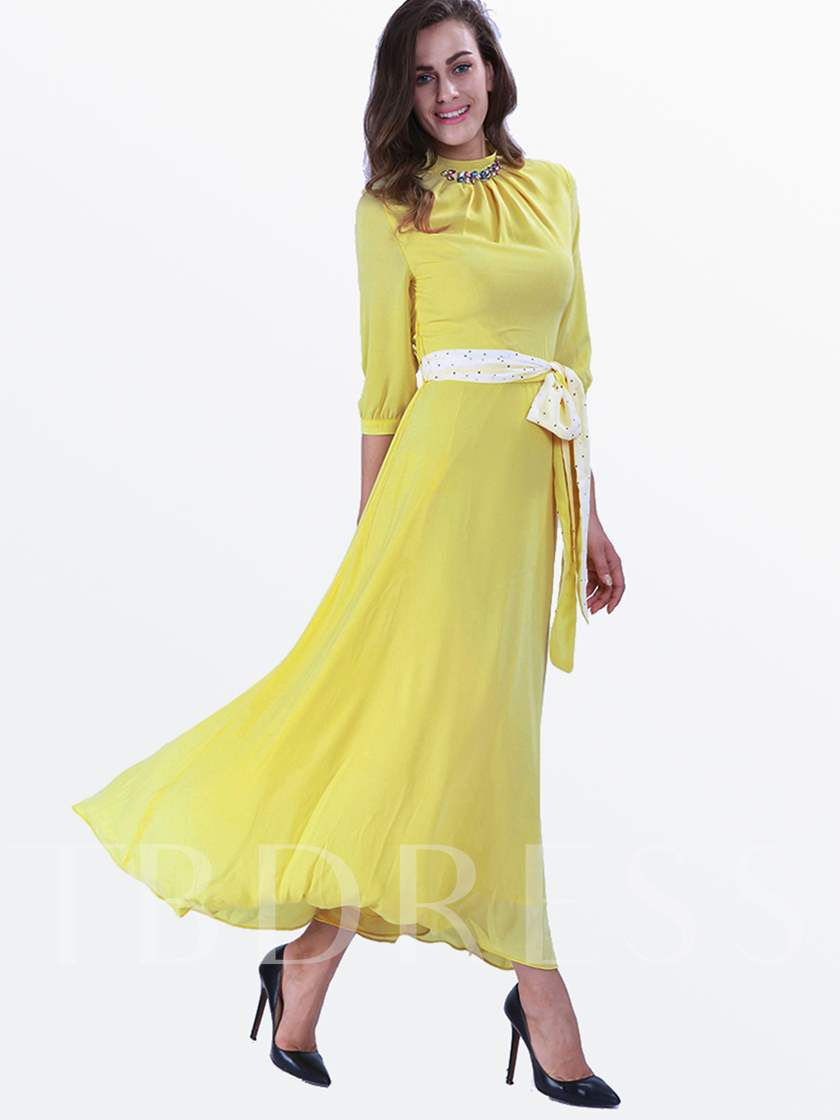 Yellow Lace up Women's Maxi Dress