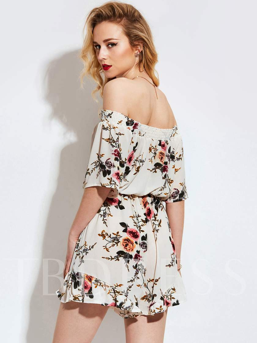 Slash Neck Floral Print Falbala Vacation Patchwork Women's Jumpsuit