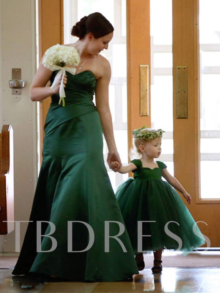 Straps Tulle Ball Gown Tea-Length Girl Party Dress