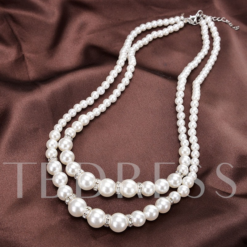 Elegant Double Layers Pearl Necklace