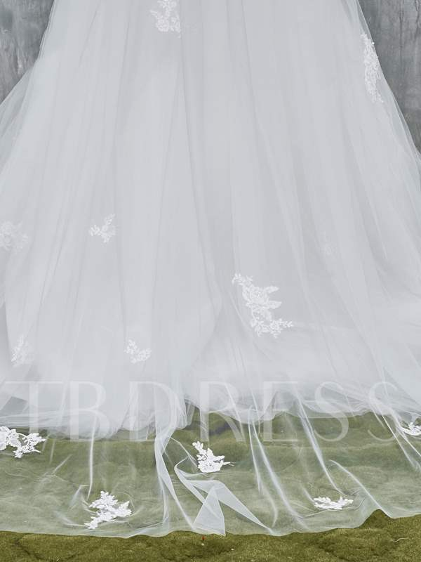 Tulle Applique 2T Long Bridal Veil