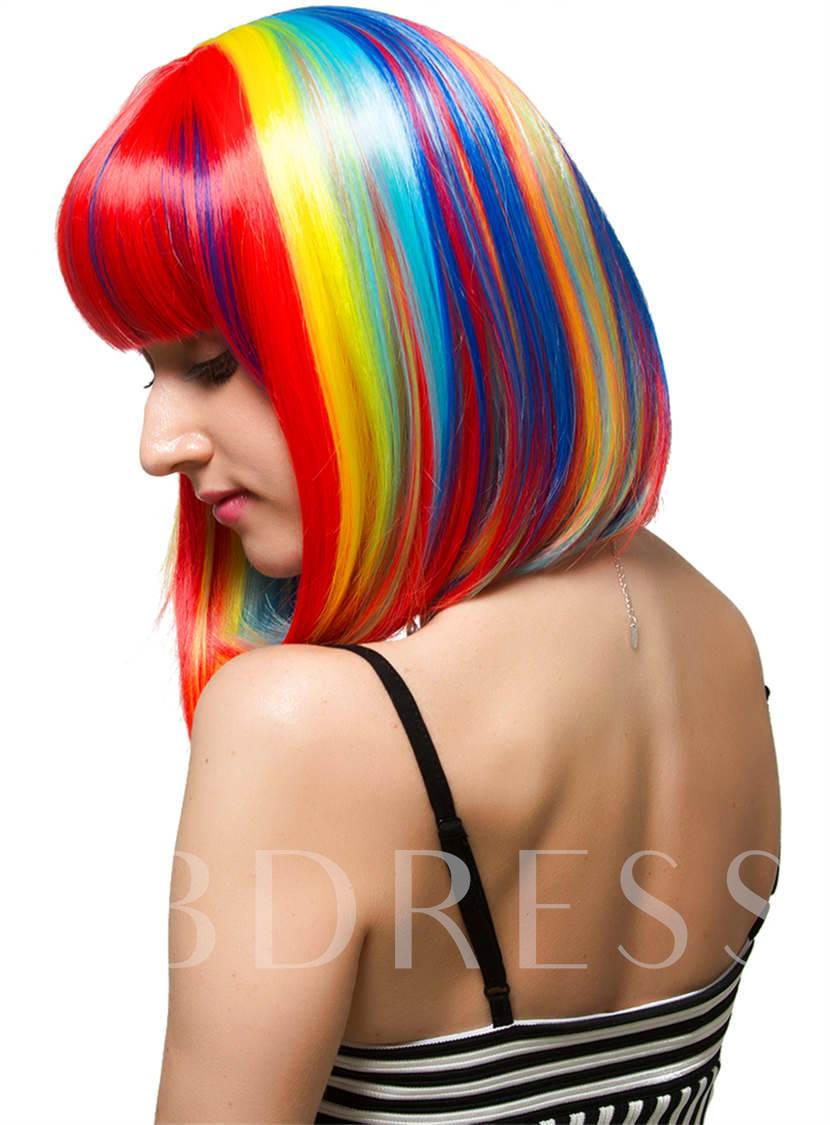Bob Rainbow Colored Synthetic Hair With Blunt Cut Straight Bangs Short Halloween Wigs Capless Cap 10 Inches