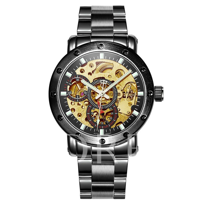 Luminous Pointer Hollow Dial Men's Mechanical Watch