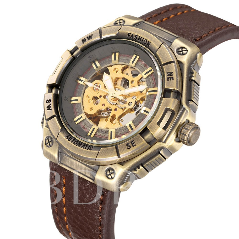 High Grade PU Band Poniter Men's Mechanical Watch