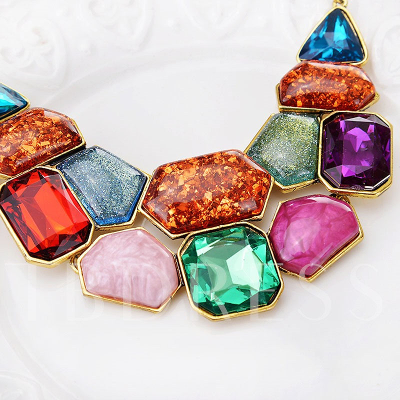 Irregular Colorful Gemstone Design Short Jewelry Set