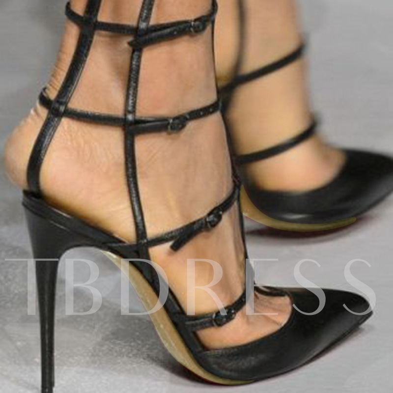 Stylish Black Caged Stiletto Pumps