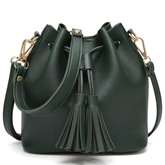 Trendy Bucket Shape Tassel Drawstring Cross Body