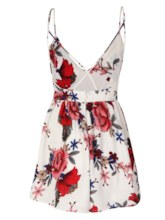 Asymmetric V-Neck Flower Print Backless Loose Women's Vacation Romper