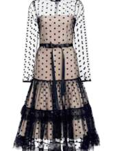 Polka Dots Tiered See-Through Women's Maxi Dress