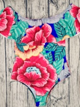 Colorful Flowers Print One Piece Swimsuits