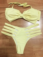 Yellow Hollow Bowknot Bikini Set