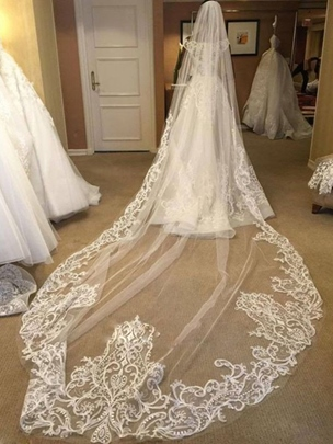 Image of 1 Tier Long Wedding Cathedral Veil