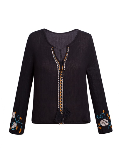 Loose Lace-Up Floral Embroidery Women's Blouse