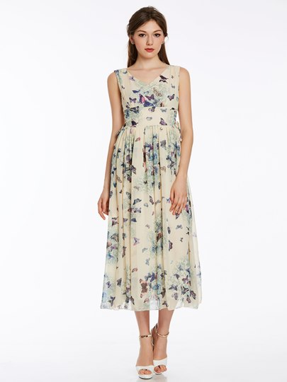 Chiffon Print Sleeveless Bohemian Women's Maxi Dress