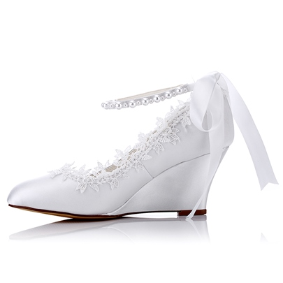 Lace Beads Evening Party Bridal's Dress Wedges