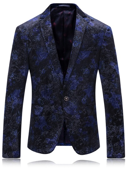 Notched Collar Floral Printed One Button Slim Men's Blazer