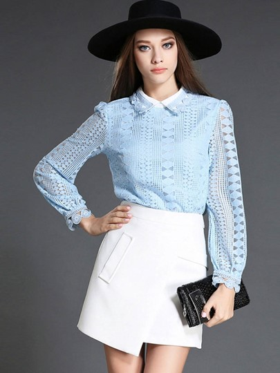 Plain Lace Lapel Keyhole Women's Blouse