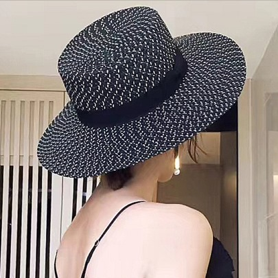 Elegant All-Matched Straw Plaited Fedora Hat