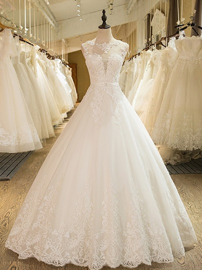 Ball Gown Appliques Beading Scoop Neck Wedding Dress Ball Gown Appliques Beading Scoop Neck Wedding Dress