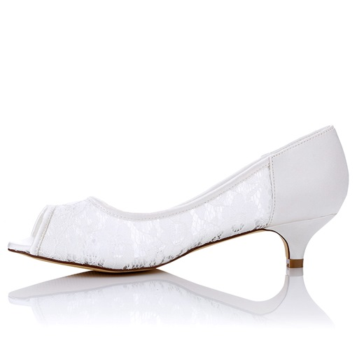 Peep Toe Lace Sabrina Heel Bridal's Wedding Pumps