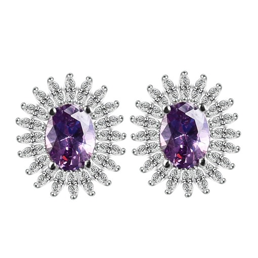 Micro Inlaid Zircon Sun Flower Ultra Violet Earrings