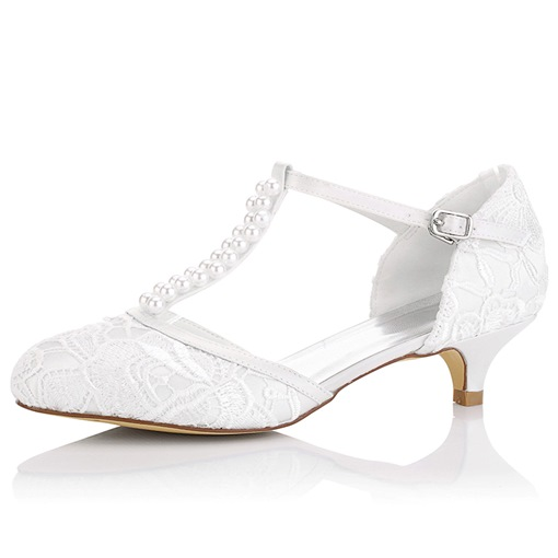 Lace Beads Sabrina Heel Bridal's Dress Pumps