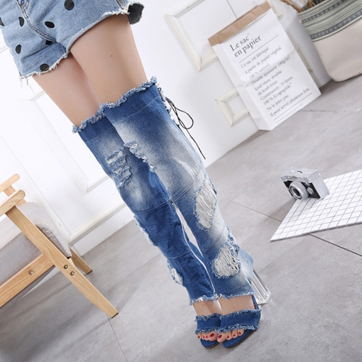 Denim Open Toe Block Heel Knee-High Boots