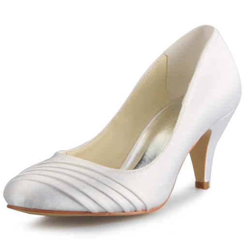 Wrinkled Cone Heel Bridal's Dress Pumps