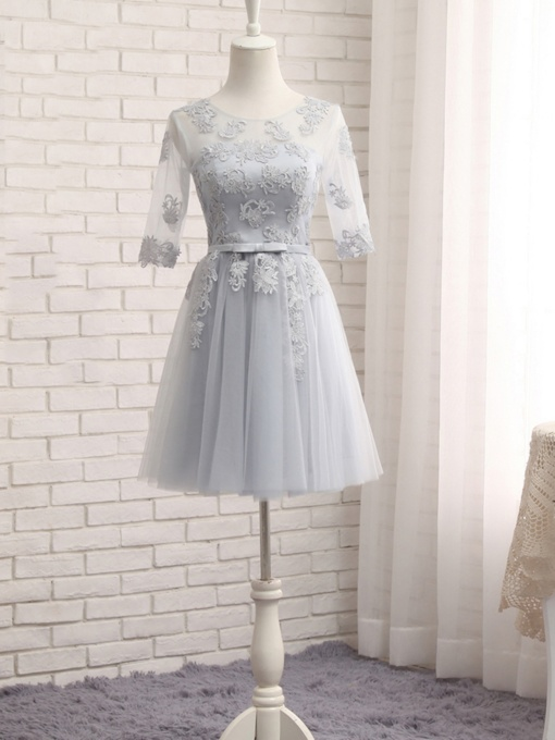 Scoop Neck Half Sleeves Appliques Bridesmaid Dress
