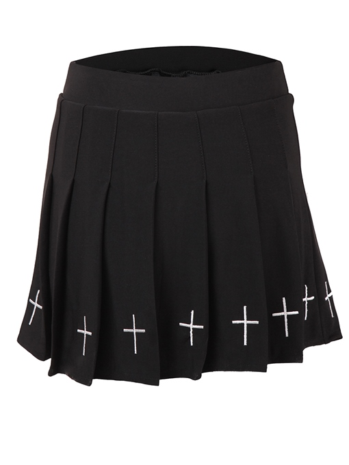 Halloween Costume Plain Embroidery Pleated Women's Mini Skirt