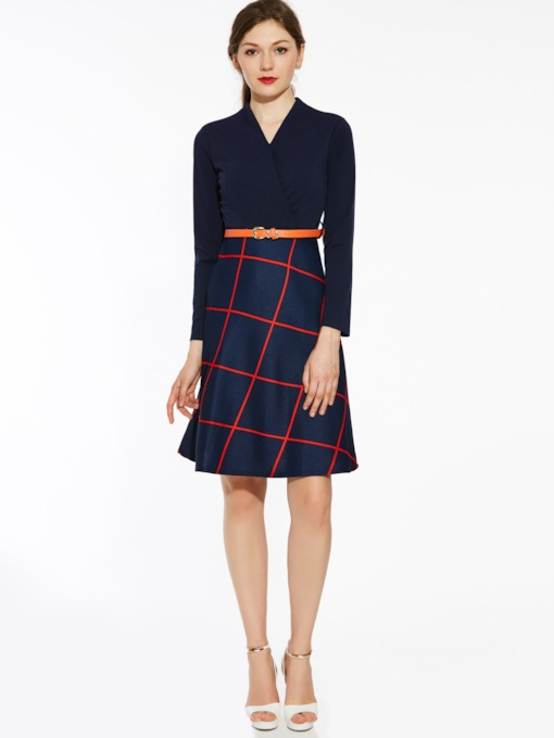 Cyan Plaid Women's Day Dress