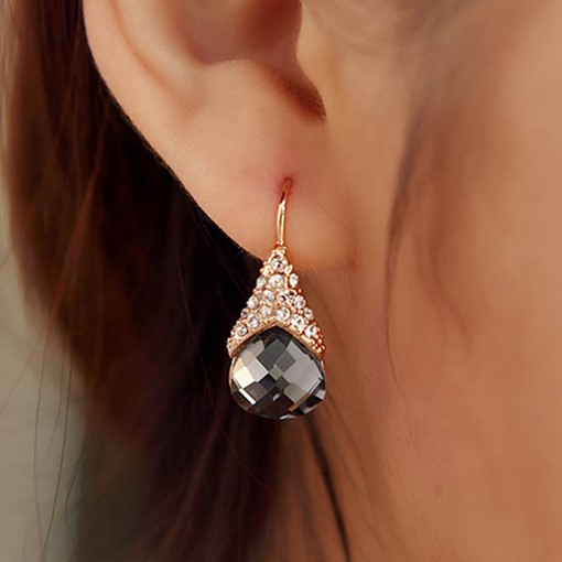 Artificial Crystal Inlaid Water Droplets Earrings