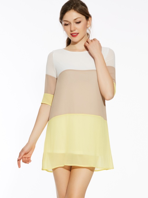 Chiffon Color Block Women's Day Dress