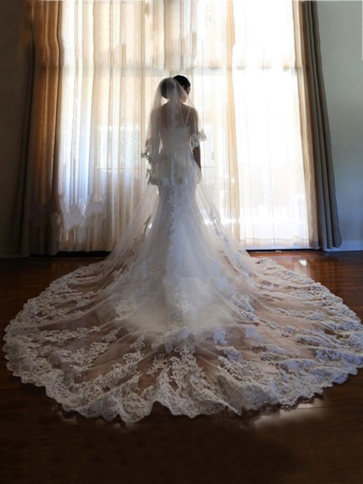 2T Wedding Veils for Bride Lace Edge
