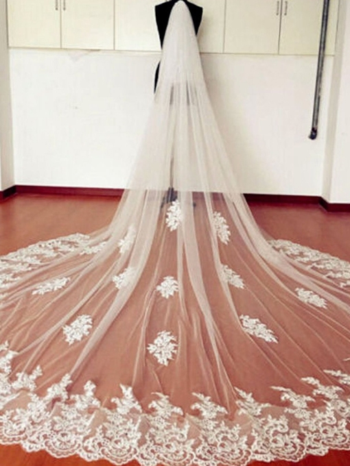 1T Tulle Applique Lace Edge Cathedral Bridal Veil