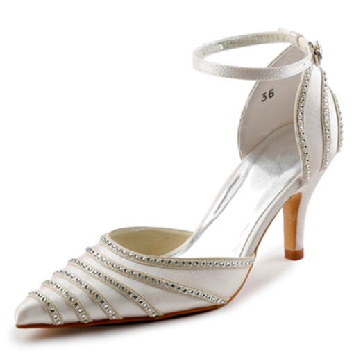 Rhinestones Pointed Mid Heel Bridal's Dress Shoes