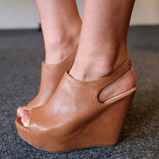 Peep Toe Nude Platform Wedge Sandals