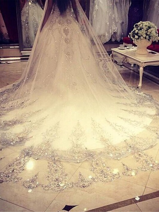 Women's Custom Made Sequins Chapel Wedding Bridal Veil